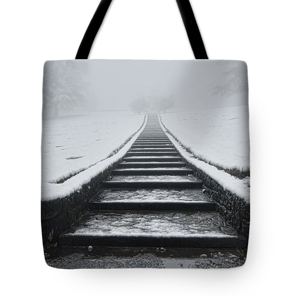 A Walk Into The Fog Tote Bag by Don Schwartz
