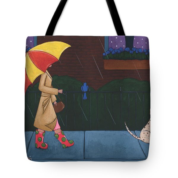 A Walk On A Rainy Day Tote Bag by Christy Beckwith