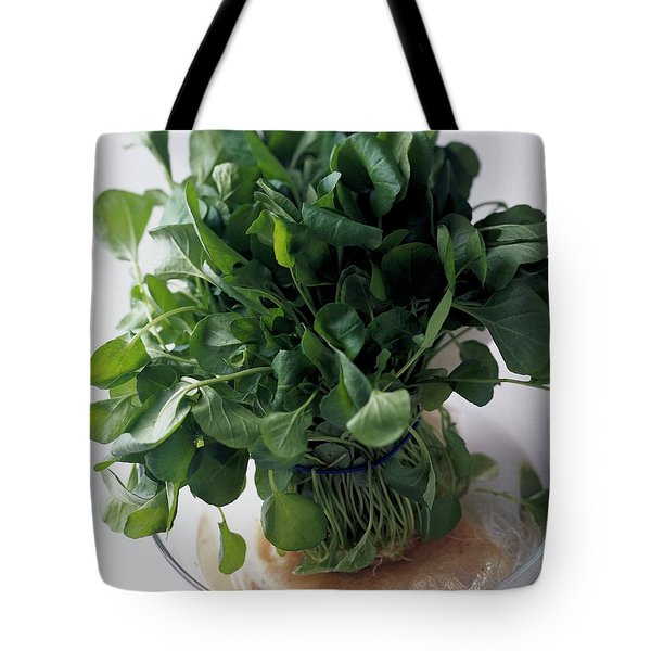 A Watercress Plant In A Bowl Of Water Tote Bag