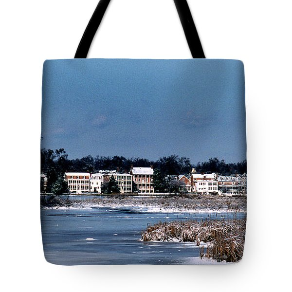 A Waterfront Christmas Tote Bag by Skip Willits