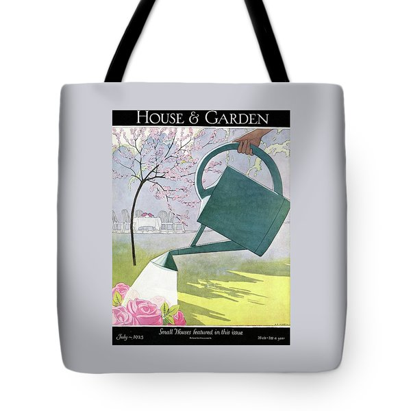 A Watering Can Above Pink Roses Tote Bag