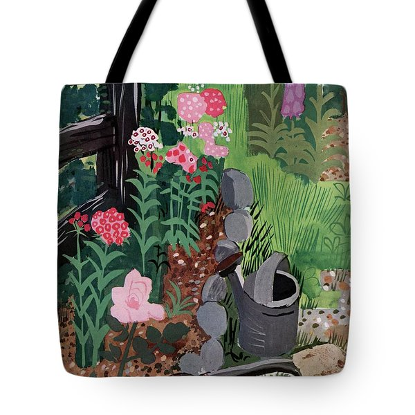 A Watering Can And A Shovel By A Flower Bed Tote Bag