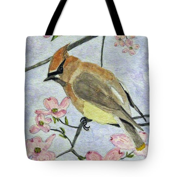 A Waxwing In The Dogwood Tote Bag