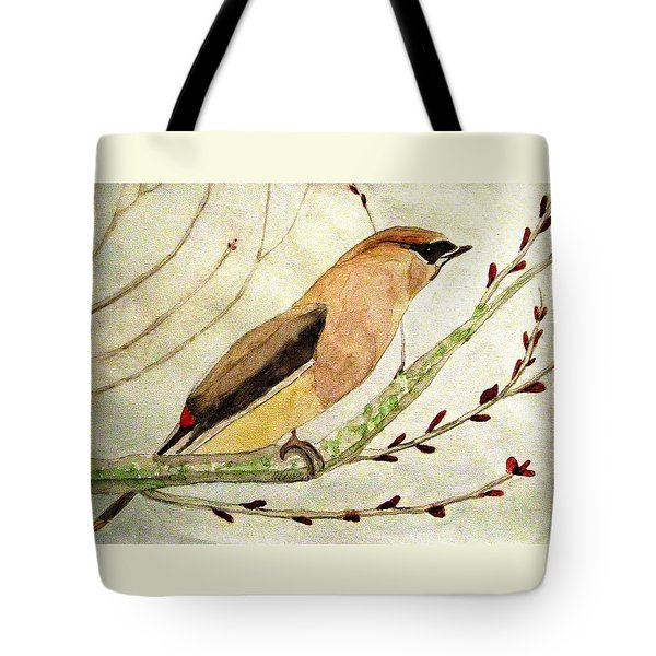 A Waxwing In The Orchard Tote Bag