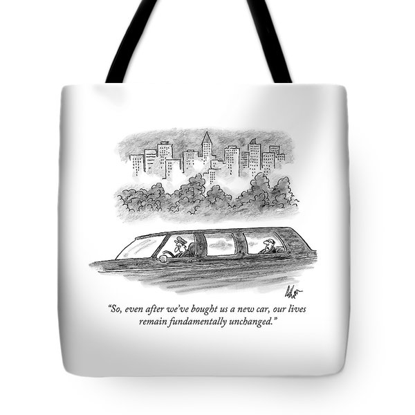A Wealthy Man In The Back Of A Limousine Speaks Tote Bag