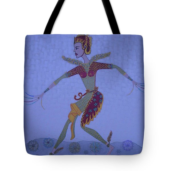 Tote Bag featuring the painting A Wild Dance Of A Nymph by Marie Schwarzer