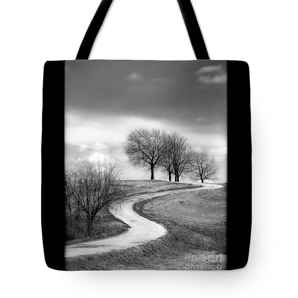 A Winding Country Road In Black And White Tote Bag