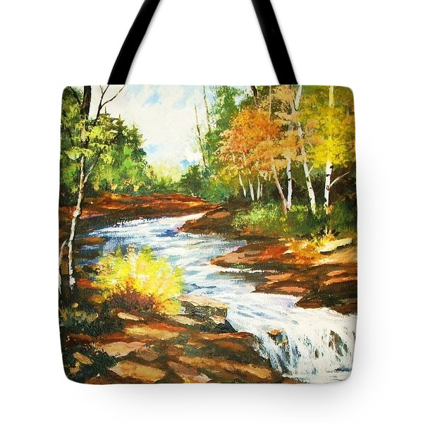 A Winding Creek In Autumn Tote Bag