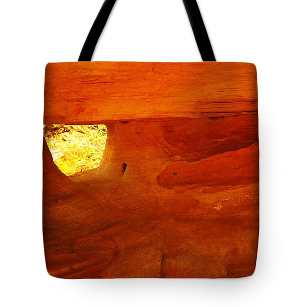 A Window In The Rock Tote Bag by Jeff Swan