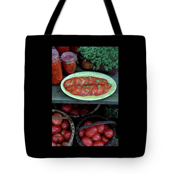 A Wine & Food Cover Of Tomatoes Tote Bag