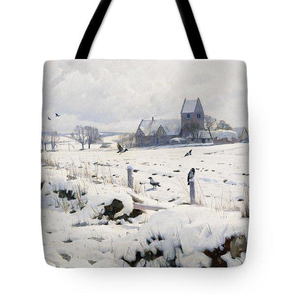 A Winter Landscape Holmstrup Tote Bag by Peder Monsted