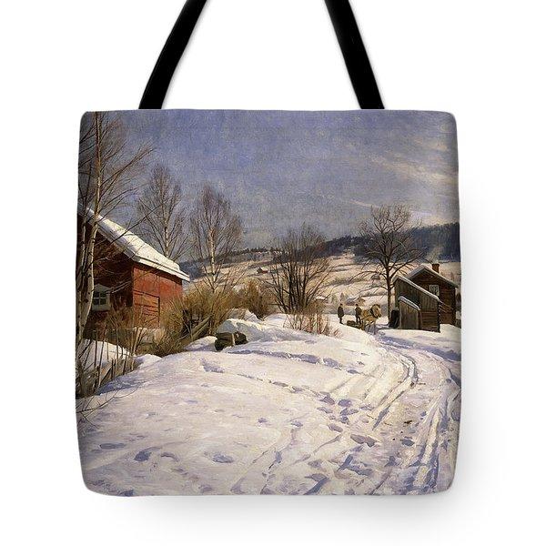 A Winter Landscape Lillehammer Tote Bag by Peder Monsted