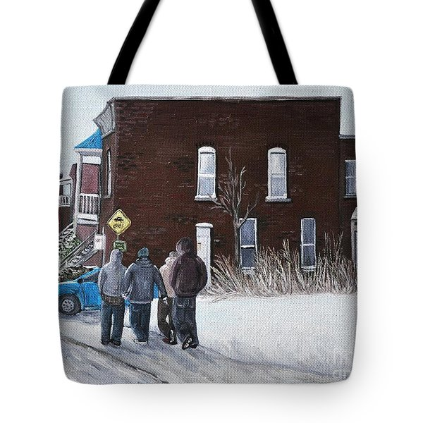 A Winter Walk In Montreal Tote Bag by Reb Frost