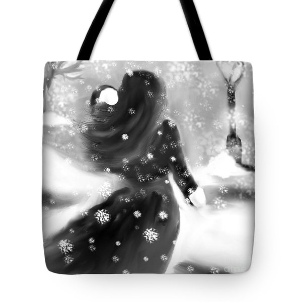 Tote Bag featuring the drawing A Winters Walk by Lori  Lovetere