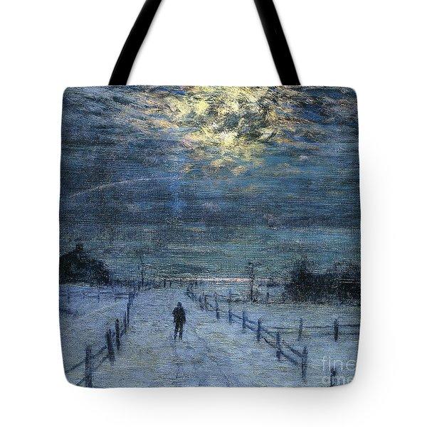 A Wintry Walk Tote Bag by Lowell Birge Harrison