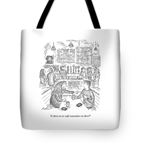 A Woman And Man Sit At A Table And The Woman Tote Bag