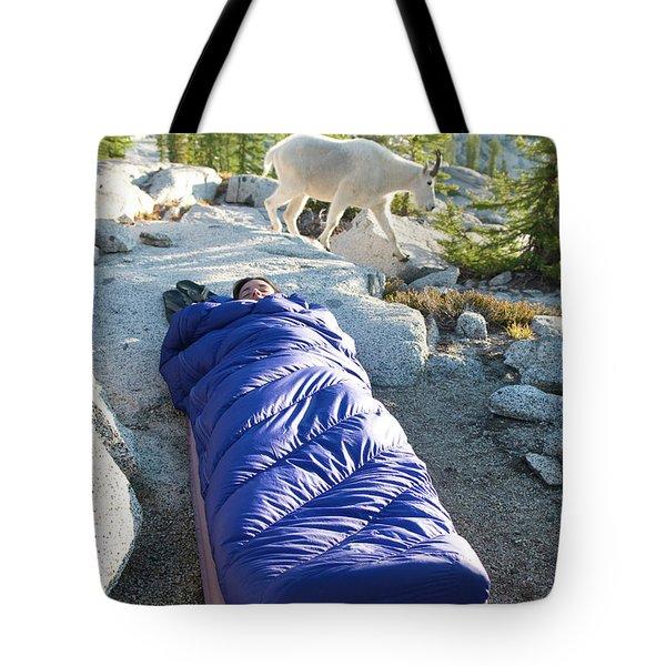 A Woman Asleep In Her Sleeping Bag Tote Bag