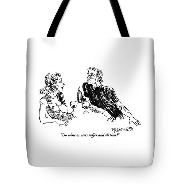 A Woman Is Seen Speaking With A Man As They Drink Tote Bag