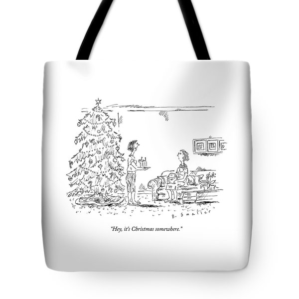 A Woman Serving Summer Drinks Tote Bag