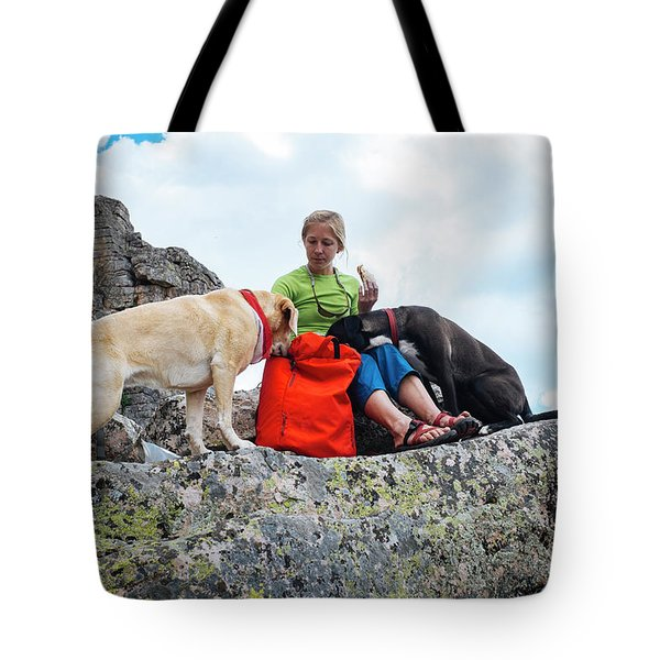 A Woman Sharing Her Lunch With Her K9 Tote Bag