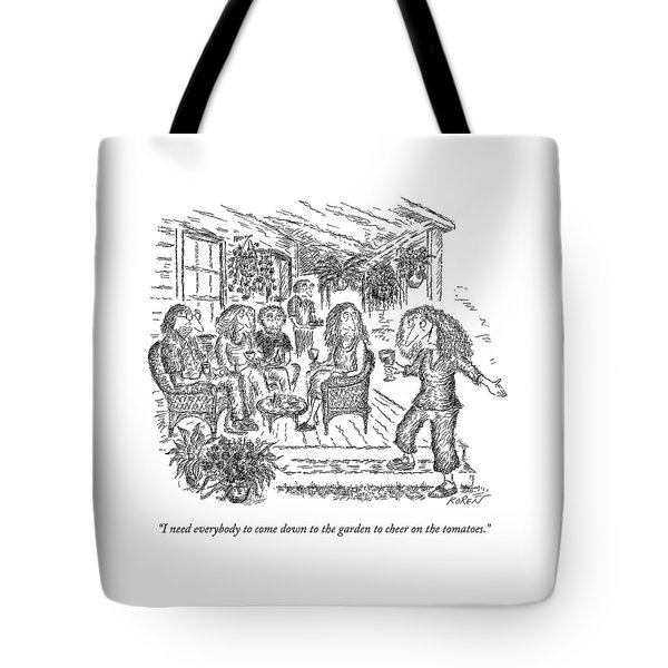 A Woman With A Glass Of Wine Is Standing Tote Bag