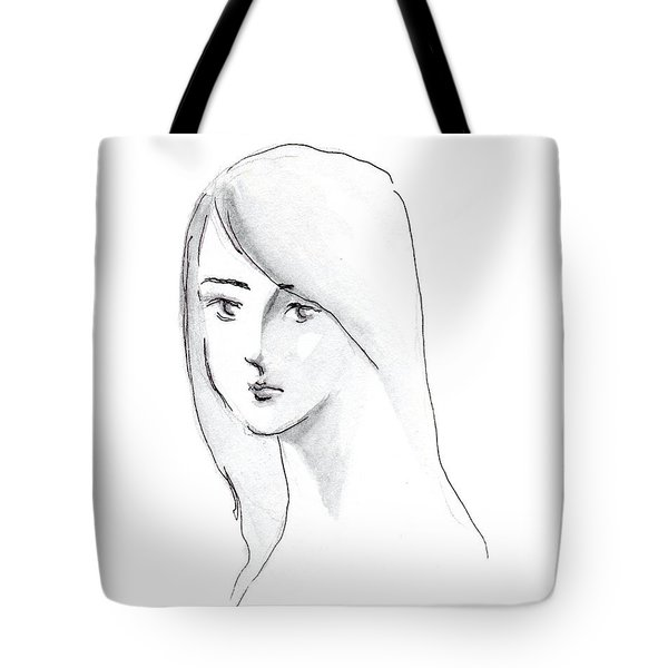 A Woman With Long Hair Tote Bag