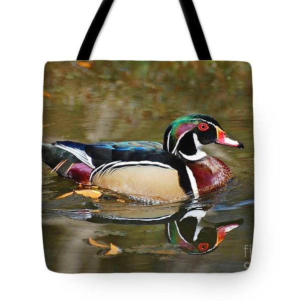 Tote Bag featuring the photograph A Wood Duck And His Reflection by Kathy Baccari