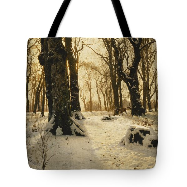 A Wooded Winter Landscape With Deer Tote Bag