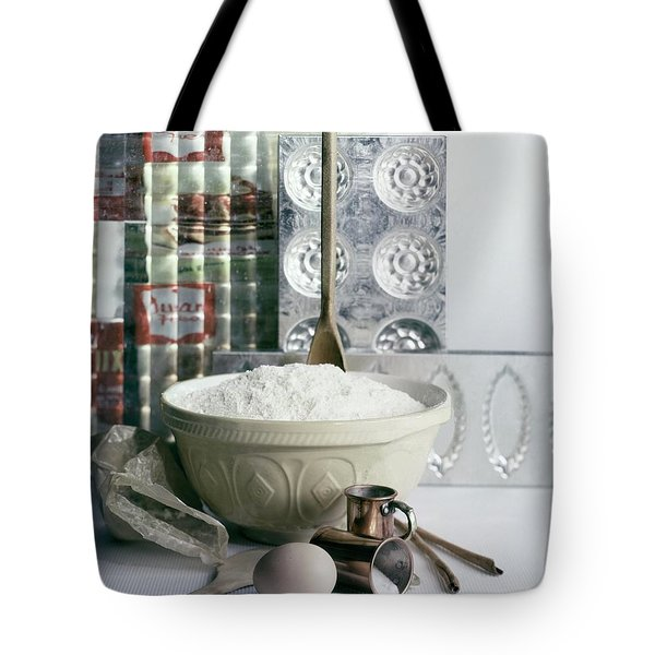 A Wooden Spoon In A Bowl Of Flour Tote Bag