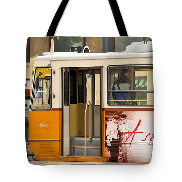 A Yellow Tram On The Streets Of Budapest Hungary Tote Bag
