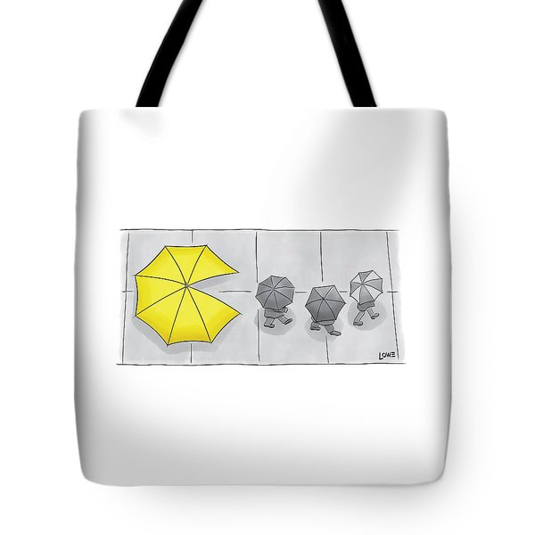 A Yellow Umbrella With A Pacman Mouth Tote Bag