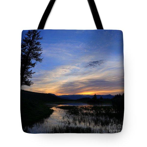 A Yellowstone Lake Before Sunrise Tote Bag