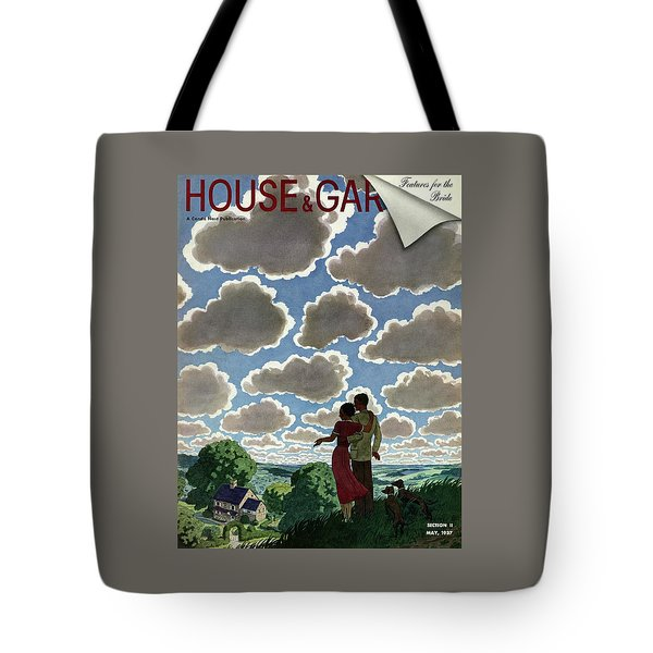 A Young Couple And Their Dogs On A Hilltop Tote Bag