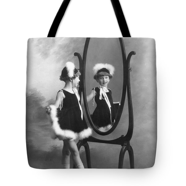A Young Girl In A Mirror Tote Bag