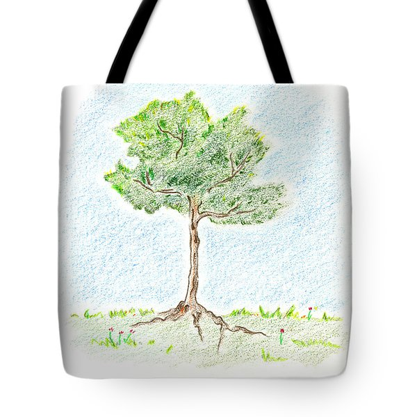 Tote Bag featuring the drawing A Young Tree by Keiko Katsuta