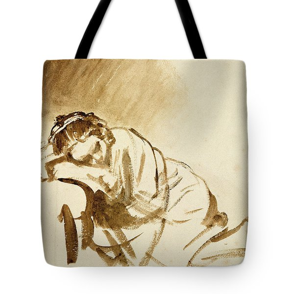 A Young Woman Sleeping Tote Bag