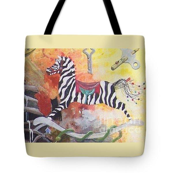 A Zebra For Charlie Tote Bag by Jackie Mueller-Jones