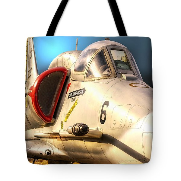 A4 Skyhawk Attack Jet Tote Bag by Thomas Woolworth