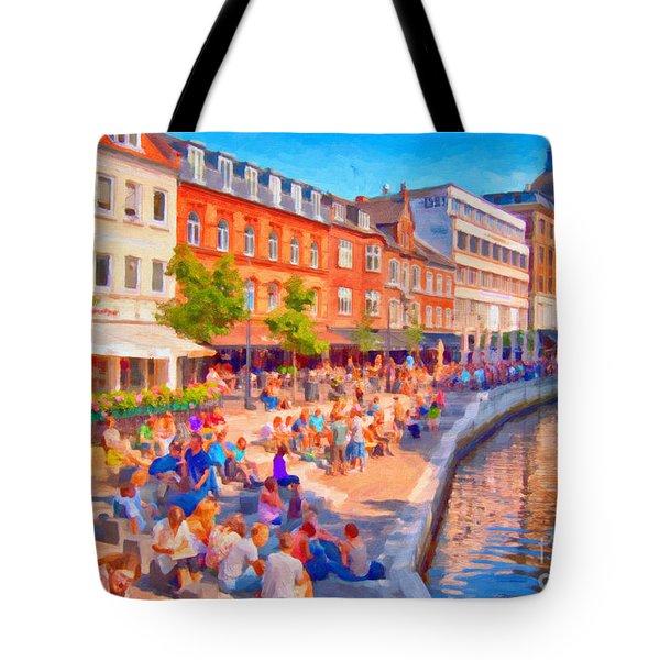 Aarhus Canal Digital Painting Tote Bag by Antony McAulay