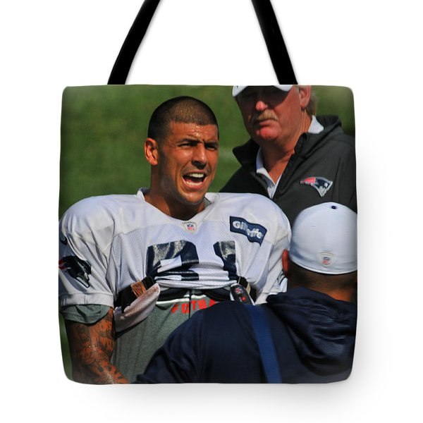 Aaron Hernandez With Patriots Coaches Tote Bag by Mike Martin
