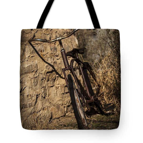 Abandoned Bicycle Tote Bag by Amber Kresge