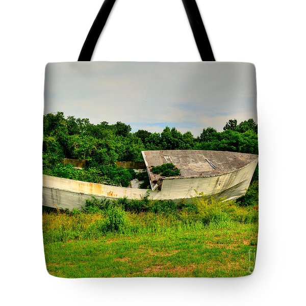 Tote Bag featuring the photograph Abandoned Boat by Kathy Baccari