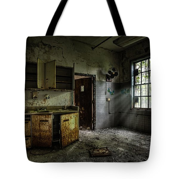 Abandoned Building - Old Asylum - Open Cabinet Doors Tote Bag by Gary Heller