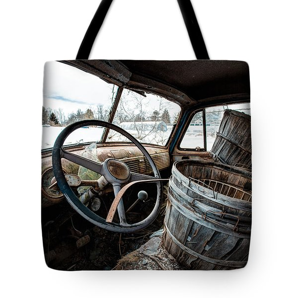 Tote Bag featuring the photograph Abandoned Chevrolet Truck - Inside Out by Gary Heller