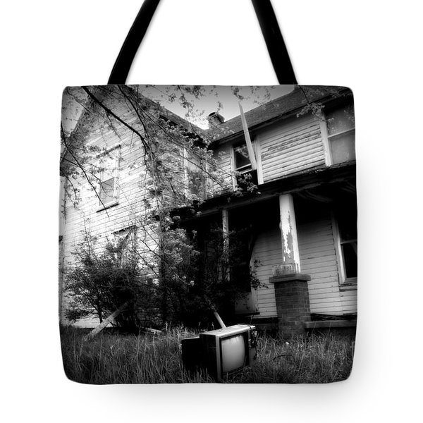 Abandoned Farm House Black And White Tote Bag by Catherine Sherman