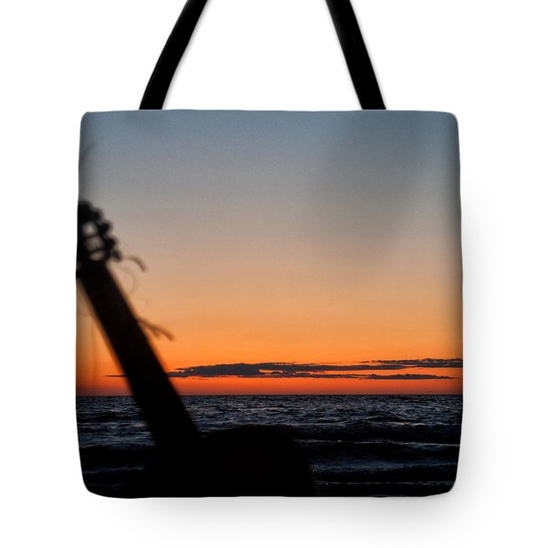 Acoustic Guitar On The Beach Tote Bag