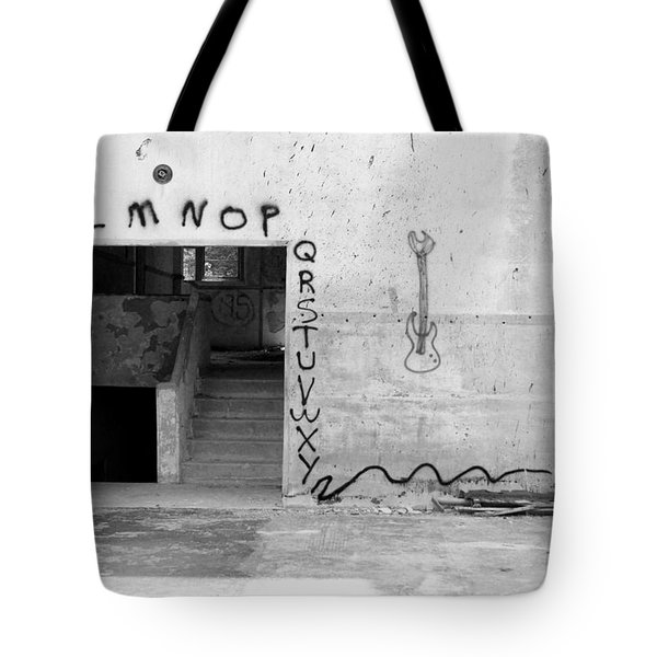 Tote Bag featuring the photograph Abcs Bw by Elizabeth Sullivan