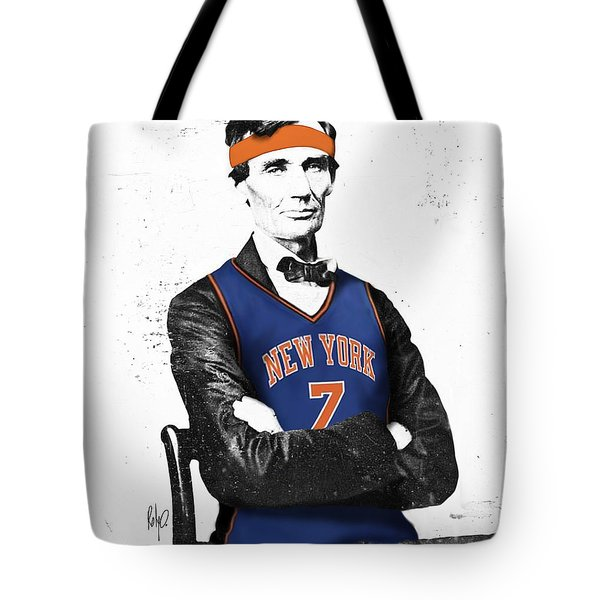 Abe Lincoln In A Carmelo Anthony New York Knicks Jersey Tote Bag by Roly Orihuela