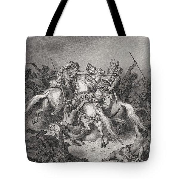 Abishai Saves The Life Of David Tote Bag by Gustave Dore