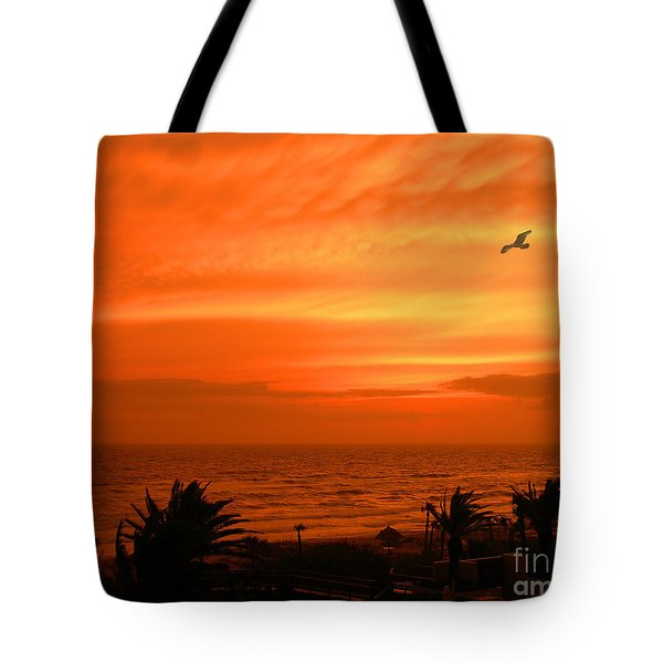 Tote Bag featuring the photograph Ablaze by Mariarosa Rockefeller